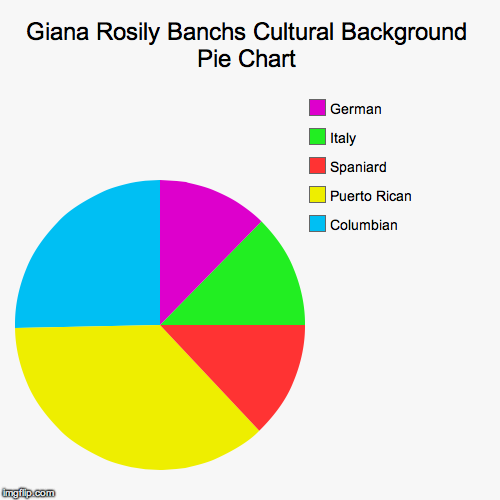 Giana Rosily Banchs Cultural Background Pie Chart | Columbian , Puerto Rican , Spaniard , Italy, German | image tagged in funny,pie charts | made w/ Imgflip chart maker