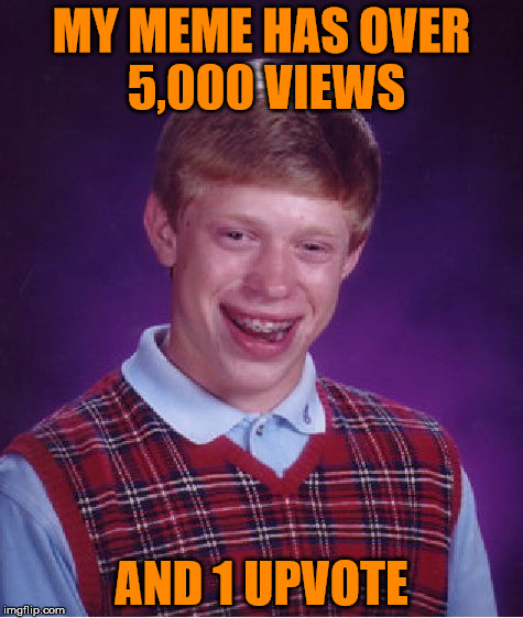 Hows that work? | MY MEME HAS OVER 5,000 VIEWS AND 1 UPVOTE | image tagged in memes,bad luck brian | made w/ Imgflip meme maker