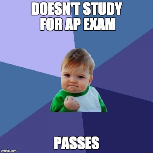 Success Kid Meme | DOESN'T STUDY FOR AP EXAM PASSES | image tagged in memes,success kid | made w/ Imgflip meme maker