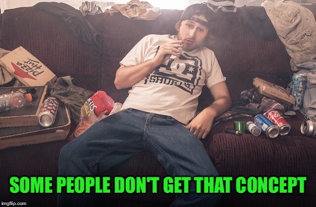 Stoner on couch | SOME PEOPLE DON'T GET THAT CONCEPT | image tagged in stoner on couch | made w/ Imgflip meme maker