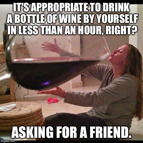 Wine Drinker | IT'S APPROPRIATE TO DRINK A BOTTLE OF WINE BY YOURSELF IN LESS THAN AN HOUR, RIGHT? ASKING FOR A FRIEND. | image tagged in wine drinker | made w/ Imgflip meme maker