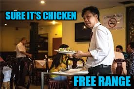 SURE IT'S CHICKEN FREE RANGE | made w/ Imgflip meme maker