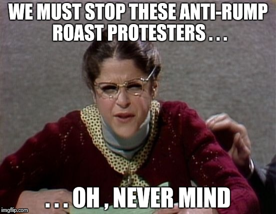 Emily Litella | WE MUST STOP THESE ANTI-RUMP ROAST PROTESTERS . . . . . . OH , NEVER MIND | image tagged in emily litella | made w/ Imgflip meme maker