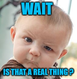 Skeptical Baby Meme | WAIT IS THAT A REAL THING ? | image tagged in memes,skeptical baby | made w/ Imgflip meme maker