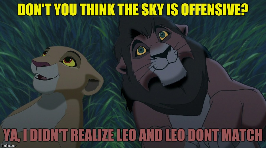 DON'T YOU THINK THE SKY IS OFFENSIVE? YA, I DIDN'T REALIZE LEO AND LEO DONT MATCH | made w/ Imgflip meme maker