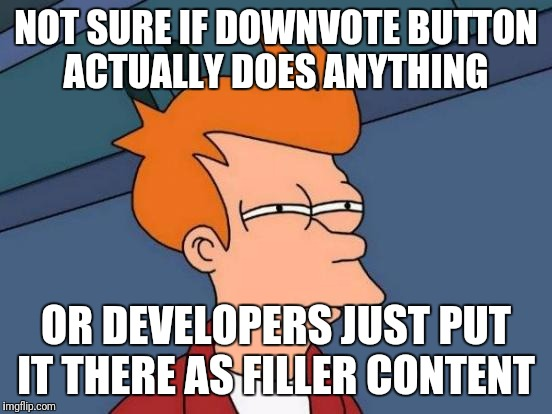 Futurama Fry Meme | NOT SURE IF DOWNVOTE BUTTON ACTUALLY DOES ANYTHING OR DEVELOPERS JUST PUT IT THERE AS FILLER CONTENT | image tagged in memes,futurama fry | made w/ Imgflip meme maker