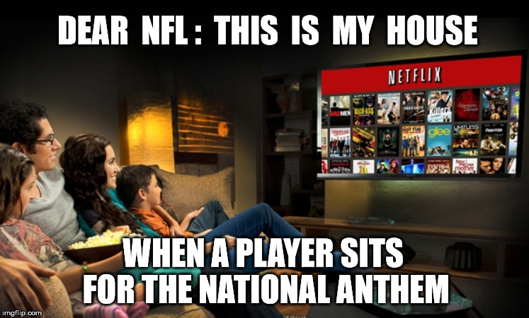 DEAR  NFL :  THIS  IS  MY  HOUSE WHEN A PLAYER SITS FOR THE NATIONAL ANTHEM | image tagged in national anthem,nfl football,disrespect,colin kaepernick | made w/ Imgflip meme maker