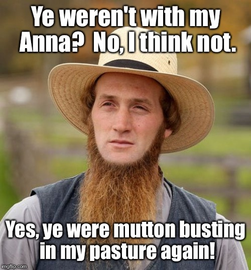 Ye weren't with my Anna?  No, I think not. Yes, ye were mutton busting in my pasture again! | made w/ Imgflip meme maker