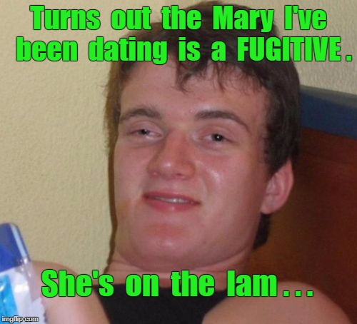 What You Don't Know About Mary ... |  Turns  out  the  Mary  I've  been  dating  is  a  FUGITIVE . She's  on  the  lam . . . | image tagged in memes,10 guy,mary,lamb | made w/ Imgflip meme maker