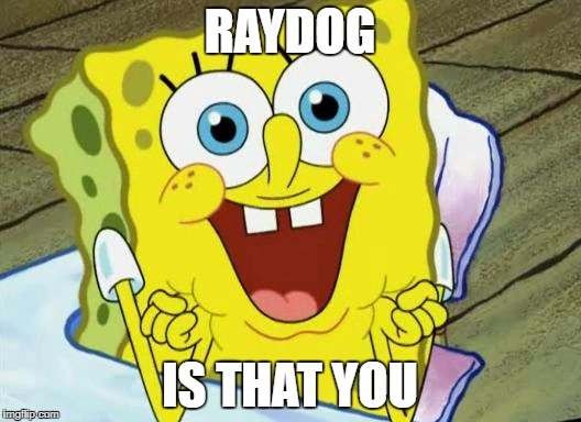 Spongebob hopeful | RAYDOG IS THAT YOU | image tagged in spongebob hopeful | made w/ Imgflip meme maker