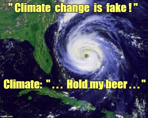 "Climate change? | "" Climate  change  is  fake ! "" Climate:  "" . . .  Hold my beer . . . "" 