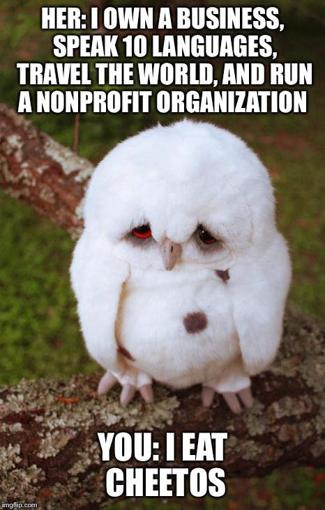 sad owl | HER: I OWN A BUSINESS, SPEAK 10 LANGUAGES, TRAVEL THE WORLD, AND RUN A NONPROFIT ORGANIZATION YOU: I EAT CHEETOS | image tagged in sad owl | made w/ Imgflip meme maker