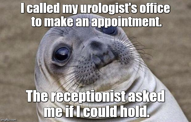 Awkward Moment Sealion Meme | I called my urologist's office to make an appointment. The receptionist asked me if I could hold. | image tagged in memes,awkward moment sealion | made w/ Imgflip meme maker
