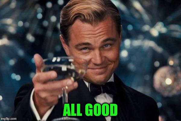 Leonardo Dicaprio Cheers Meme | ALL GOOD | image tagged in memes,leonardo dicaprio cheers | made w/ Imgflip meme maker