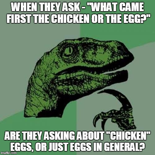 "Please, answer me... I have been asking this my whole life. | WHEN THEY ASK - ""WHAT CAME FIRST THE CHICKEN OR THE EGG?"" ARE THEY ASKING ABOUT ""CHICKEN"" EGGS, OR JUST EGGS IN GENERAL? 