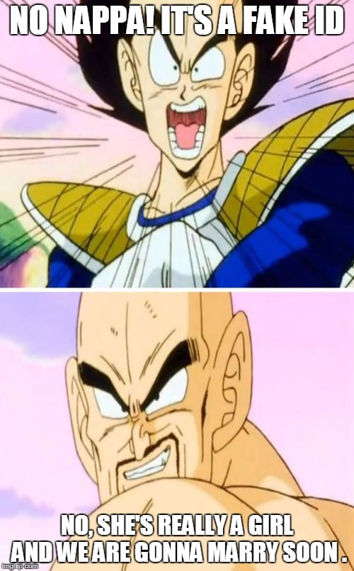 No Nappa Its A Trick | NO NAPPA! IT'S A FAKE ID NO, SHE'S REALLY A GIRL AND WE ARE GONNA MARRY SOON . | image tagged in memes,no nappa its a trick | made w/ Imgflip meme maker