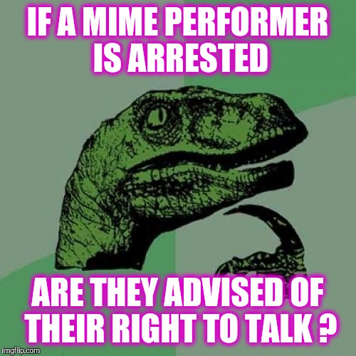 Philosoraptor (live concert version) | IF A MIME PERFORMER IS ARRESTED ARE THEY ADVISED OF THEIR RIGHT TO TALK ? | image tagged in memes,philosoraptor | made w/ Imgflip meme maker