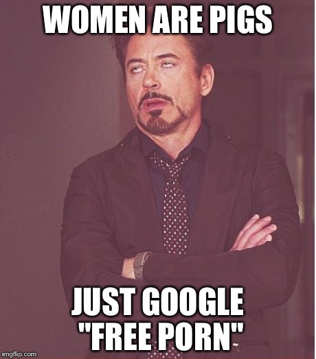 "Face You Make Robert Downey Jr Meme | WOMEN ARE PIGS JUST GOOGLE ""FREE PORN"" 