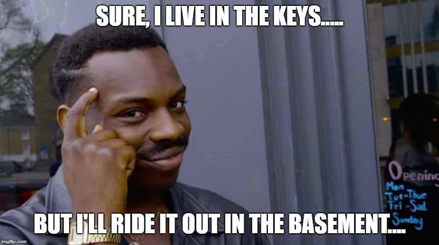 I have an idea... | SURE, I LIVE IN THE KEYS..... BUT I'LL RIDE IT OUT IN THE BASEMENT.... | image tagged in smart eddie murphy,irma,hurricane irma,florida,meanwhile in florida | made w/ Imgflip meme maker