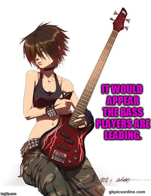 IT WOULD APPEAR THE BASS PLAYERS ARE LEADING. | made w/ Imgflip meme maker