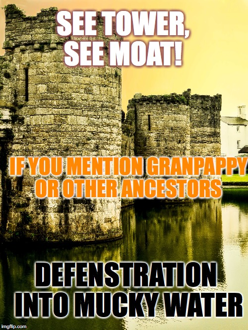 SEE TOWER, SEE MOAT! IF YOU MENTION GRANPAPPY OR OTHER ANCESTORS DEFENSTRATION INTO MUCKY WATER | image tagged in medieval memes | made w/ Imgflip meme maker