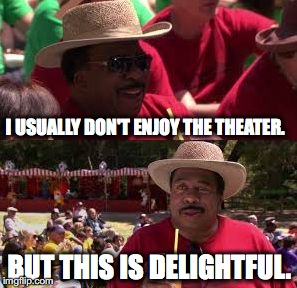 I USUALLY DON'T ENJOY THE THEATER. BUT THIS IS DELIGHTFUL. | image tagged in stanley delightful,the office,stanley hudson,s05e28,company picnic | made w/ Imgflip meme maker