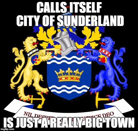 CALLS ITSELF CITY OF SUNDERLAND IS JUST A REALLY BIG TOWN | image tagged in city of sunderland | made w/ Imgflip meme maker