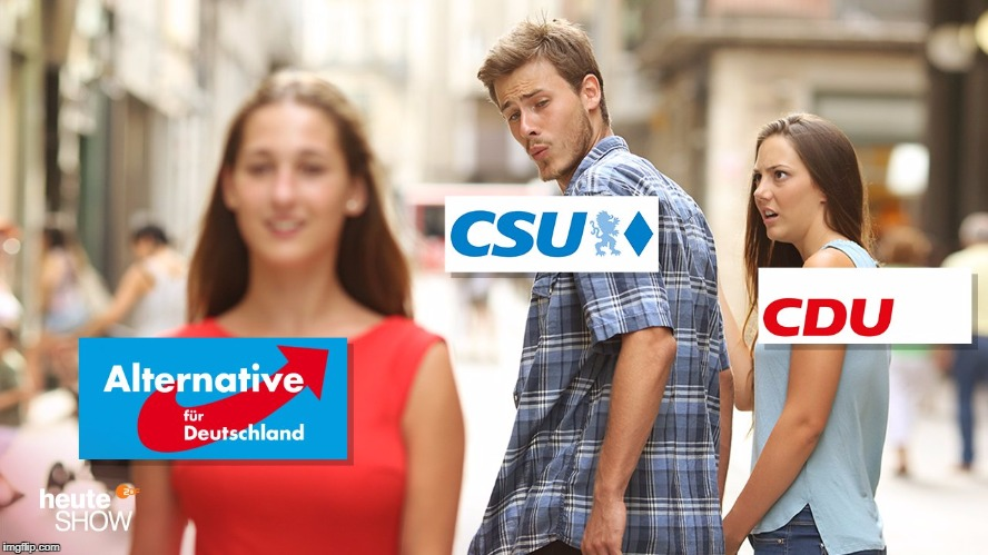 German Conservative Parties working together with ultra right-wingers | image tagged in man looking at other woman,political meme,politics | made w/ Imgflip meme maker