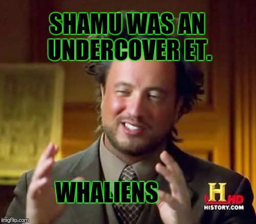 Ancient Aliens Meme | SHAMU WAS AN UNDERCOVER ET. WHALIENS | image tagged in funny,ancient aliens,humor,animals,memes,television | made w/ Imgflip meme maker