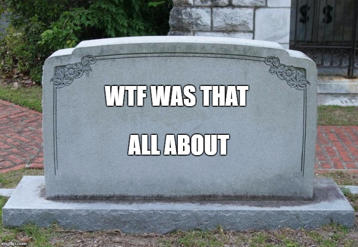 Blank Tombstone | WTF WAS THAT ALL ABOUT | image tagged in blank tombstone | made w/ Imgflip meme maker