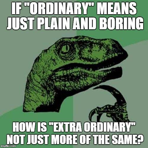 "Philosoraptor Meme | IF ""ORDINARY"" MEANS JUST PLAIN AND BORING HOW IS ""EXTRA ORDINARY"" NOT JUST MORE OF THE SAME? 