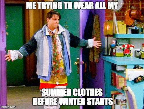 ME TRYING TO WEAR ALL MY SUMMER CLOTHES BEFORE WINTER STARTS | image tagged in joey clothes | made w/ Imgflip meme maker