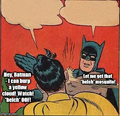 Batman Slapping Robin Meme | Hey, Batman - I can burp a yellow cloud!  Watch! *belch* OOF! Let me get that *belch* mosquito! | image tagged in memes,batman slapping robin | made w/ Imgflip meme maker