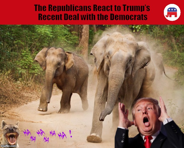 The Republicans React to Trump's Recent Deal with the Democrats | image tagged in donald trump,republicans,democrats,elephant,funny,memes | made w/ Imgflip meme maker