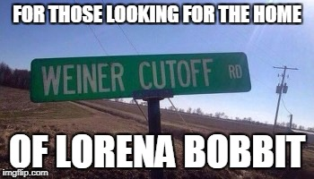 How much do they get paid to name streets anyways | FOR THOSE LOOKING FOR THE HOME OF LORENA BOBBIT | image tagged in memes,lorena bobbit | made w/ Imgflip meme maker