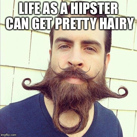 Hippest of the Hipsters | LIFE AS A HIPSTER CAN GET PRETTY HAIRY | image tagged in hipster,beard | made w/ Imgflip meme maker