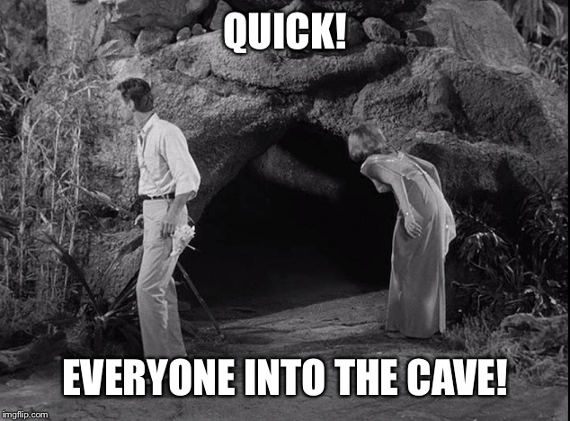QUICK! EVERYONE INTO THE CAVE! | made w/ Imgflip meme maker