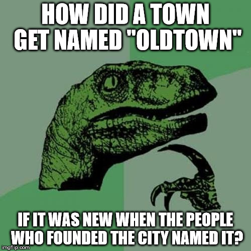"Philosoraptor Meme | HOW DID A TOWN GET NAMED ""OLDTOWN"" IF IT WAS NEW WHEN THE PEOPLE WHO FOUNDED THE CITY NAMED IT? 