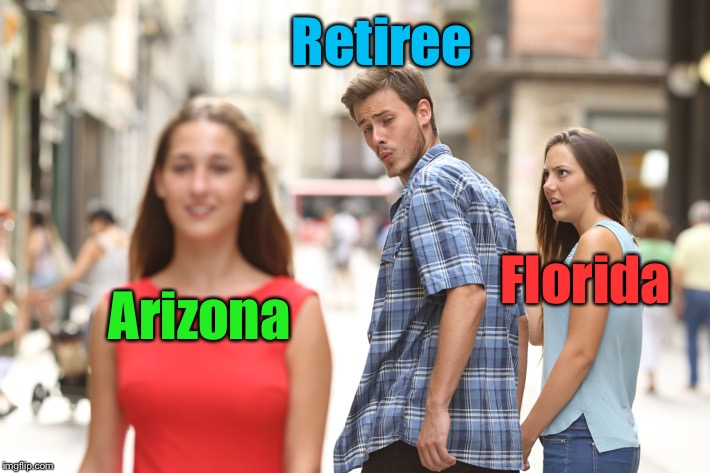 During Hurricane Season | Florida Arizona Retiree | image tagged in guy looking at other girl,memes,retirement,hurricane | made w/ Imgflip meme maker