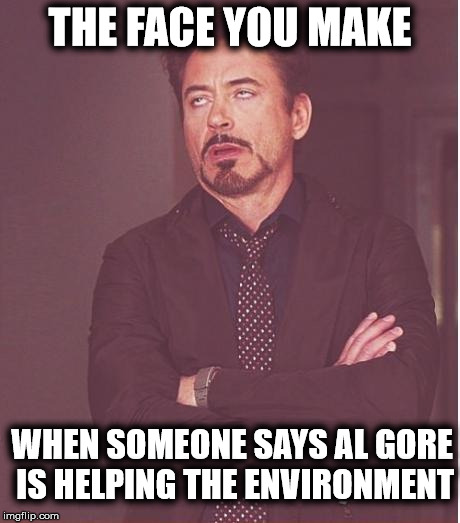 Face You Make Robert Downey Jr Meme | THE FACE YOU MAKE WHEN SOMEONE SAYS AL GORE IS HELPING THE ENVIRONMENT | image tagged in memes,face you make robert downey jr | made w/ Imgflip meme maker