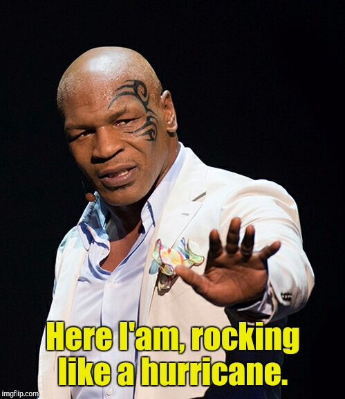 Here I'am, rocking like a hurricane. | made w/ Imgflip meme maker