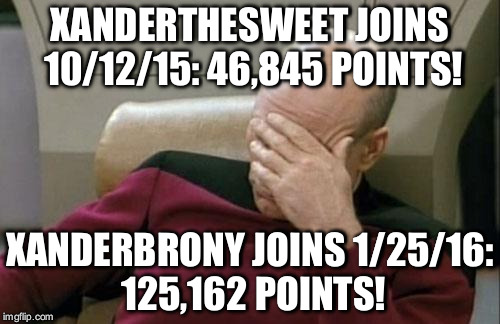 Well... | XANDERTHESWEET JOINS 10/12/15: 46,845 POINTS! XANDERBRONY JOINS 1/25/16: 125,162 POINTS! | image tagged in memes,captain picard facepalm,points,xanderthesweet,xanderbrony | made w/ Imgflip meme maker