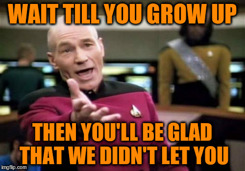 Picard Wtf Meme | WAIT TILL YOU GROW UP THEN YOU'LL BE GLAD THAT WE DIDN'T LET YOU | image tagged in memes,picard wtf | made w/ Imgflip meme maker