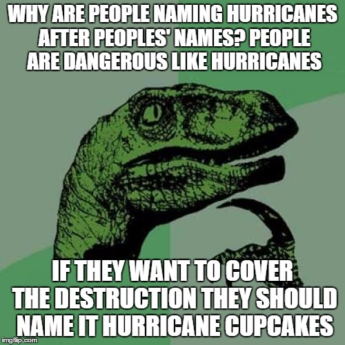 Philosoraptor Meme | WHY ARE PEOPLE NAMING HURRICANES AFTER PEOPLES' NAMES? PEOPLE ARE DANGEROUS LIKE HURRICANES IF THEY WANT TO COVER THE DESTRUCTION THEY SHOUL | image tagged in memes,philosoraptor | made w/ Imgflip meme maker