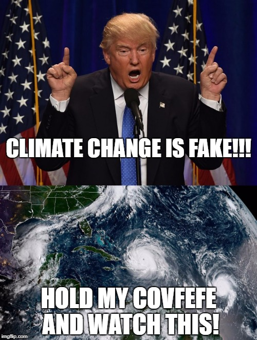 Oh, the Orange One... will Cheeto get it ever right? Now even the Earth hates you! | CLIMATE CHANGE IS FAKE!!! HOLD MY COVFEFE AND WATCH THIS! | image tagged in funny,memes,political,funny memes,president cheeto,hurricane irma | made w/ Imgflip meme maker