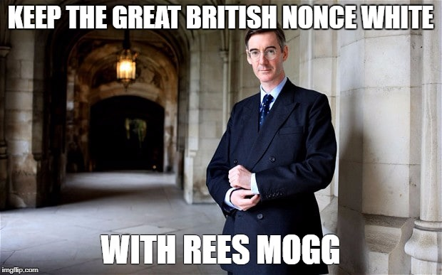 Jacob Rees Mogg | KEEP THE GREAT BRITISH NONCE WHITE WITH REES MOGG | image tagged in jacob rees mogg | made w/ Imgflip meme maker