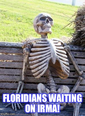 Waiting Skeleton Meme | FLORIDIANS WAITING ON IRMA! | image tagged in memes,waiting skeleton | made w/ Imgflip meme maker
