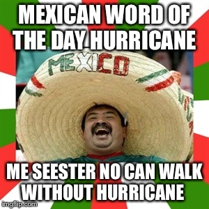 Sombrero man  | MEXICAN WORD OF THE DAY HURRICANE ME SEESTER NO CAN WALK WITHOUT HURRICANE | image tagged in sombrero man | made w/ Imgflip meme maker