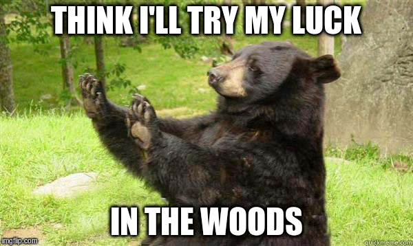 THINK I'LL TRY MY LUCK IN THE WOODS | made w/ Imgflip meme maker