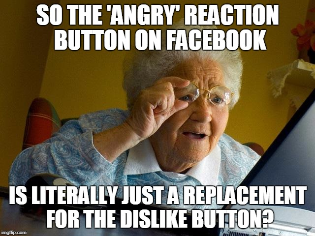 Grandma Finds The Internet Meme | SO THE 'ANGRY' REACTION BUTTON ON FACEBOOK IS LITERALLY JUST A REPLACEMENT FOR THE DISLIKE BUTTON? | image tagged in memes,grandma finds the internet | made w/ Imgflip meme maker